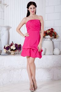 Hot Pink A-line Strapless Taffeta Ruche Graduation Dresses for Juniors in Earlston