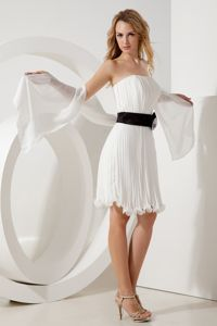 White Strapless with Organza Belt Eighth Grade Graduation Dresses in Ballater