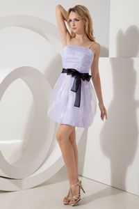 Lilac Straps Organza Graduation Dresses for Juniors in Aberdeen with Bowknot