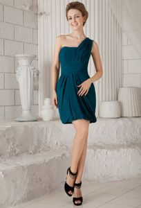 Turquoise One Shoulder Graduation Dresses for College in Thornton with Mini-length