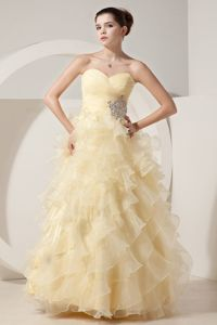 Beautiful A-line/Princess Accent Graduation Dress in Limekilns in Light Yellow