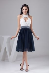 White and Navy Blue Halter Beads Graduation Dresses for Juniors in Inverkeithing