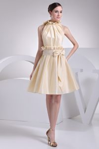 Beading Ruffles and Bowknot High Neck Graduation Ceremony Dresses in Markinch