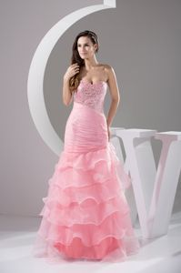 Beaded Sweetheart A-line Floor-length Middle School Graduation Dresses in Pink