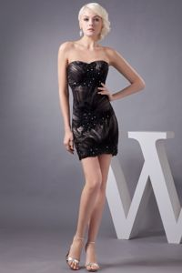 Simple Sweetheart Short Eighth Grade Graduation Dresses in Black with Appliques