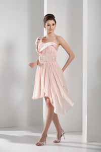 One Shoulder High-low Pink Graduation Dresses for Girls with Beading in Elburn