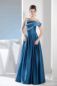 Off the Shoulder Floor-length Graduation Ceremony Dresses in Teal with Beading