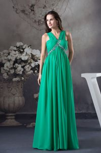 Beaded and Ruched Floor-length Green Graduation Dress for High School in Derby