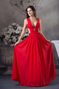 Sexy Ruched Red Floor-length Middle School Graduation Dress with Cutout Wasit