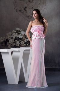 Pink Strapless Floor-length Middle School Graduation Dress with Flowers in Solon
