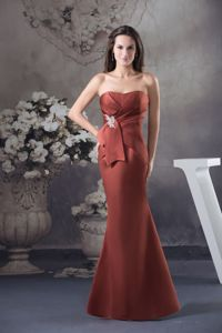 Brand New Rust Red Strapless Floor-length College Graduation Dress with Ruches