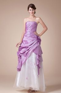 Lavender Princess Strapless Ankle-length Senior Graduation Dresses with Pick-ups