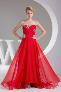 Red Sweetheart Empire Floor-length Senior Graduation Dress with Beading in Milo