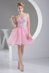 Lovely Pink Sweetheart Mini-length Middle School Graduation Dress with Beading