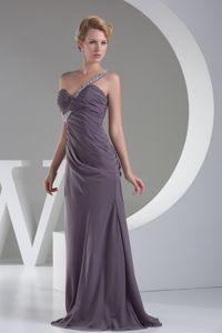 Purple Sweetheart Floor-length Graduation Dresses for Middle School with Beading