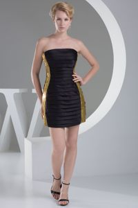 Black Strapless Mini-length College Graduation Dresses with Ruching and Sequins