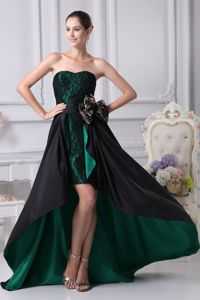 Sweetheart High-low College Graduation Dresses in Black and Green with Bowknot