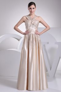 Champagne Straps Floor-length Senior Graduation Dress with Beading and Ruching