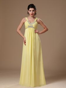 Light Yellow Straps Empire Graduation Dresses for Middle School in Floor-length