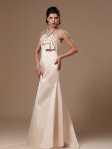 Champagne Strapless Sheath College Graduation Dress with Brush Train in Gowrie