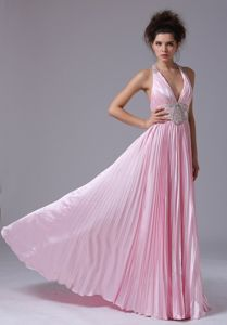 Baby Pink Pleated Halter Floor-length Graduation Dresses for 8th Grade in Exira