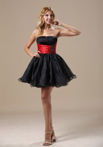 Black A-line Mini-length Graduation Dress for Middle School with Beading in Colo