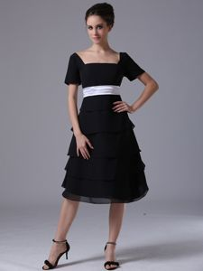 Black Square Neck A-line Tea-length Senior Graduation Dresses with Short Sleeves