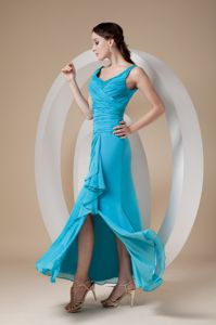 Ruched Sheath Ankle-length Prom Dresses for Graduation in Teal with High Slit