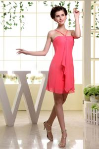 Lovely Straps Mini-length Middle School Graduation Dresses in Watermelon Red