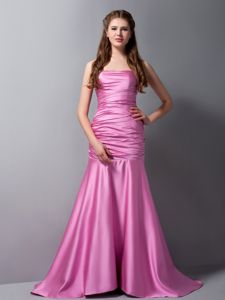 Ruched Rose Pink Mermaid Strapless Senior Graduation Dress with Brush Train