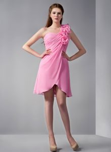 One Shoulder Mini-length Pink Cute Graduation Dresses with Flowers in Ossian