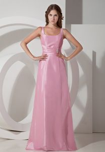Rose Pink Square Neck 5th Grade Graduation Dresses in Floor-length in Vandalia