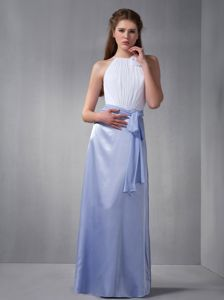 Lilac and White Bateau Graduation Dresses for Girls in Floor-length in Taylorville