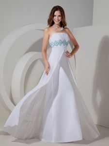 New White Strapless Floor-length Graduation Dress for High School with Beading