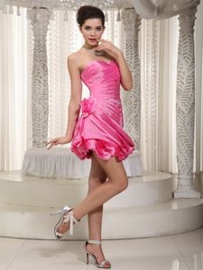 Sexy Hot Pink Sweetheart Short Organza College Graduation Dress with Ruching