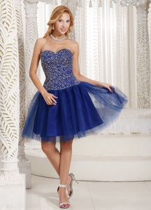 Peacock Blue Sweetheart Mini-length Graduation Dresses for Girls with Beading