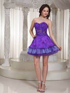 Luxurious Sweetheart Mini-length Purple 5th Grade Graduation Dresses in Salem