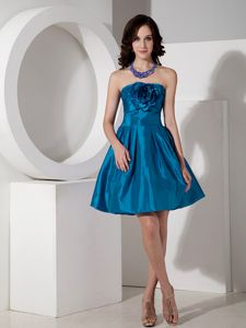 Modest A-line Strapless Short Middle School Graduation Dresses in Teal in Peru