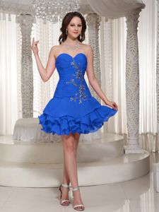 Cute Blue Sweetheart Mini-length Middle School Graduation Dress with Appliques