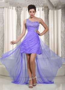 Purple One Shoulder High-low College Graduation Dress with Beading in Monee