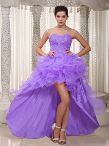Lavender A-line Sweetheart High-low Graduation Dresses for Girls with Ruffles