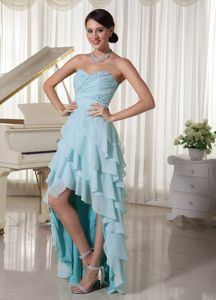 Baby Blue Sweetheart Layered High-low College Grad Dress with Beadings