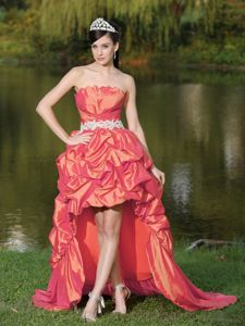 New Strapless Coral Red High-low High School Party Dress with Appliques