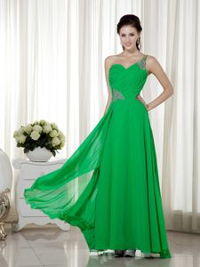 Pretty Green One Shoulder Floor-length High School Party Dress with Ruche