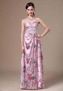 Special Sweetheart Full-length School Party Dress with Beading and Printing