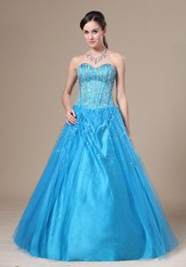 Bright Aqua Blue Sweetheart Floor-length Graduation Dresses with Beading