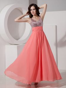 Watermelon Red Ankle-length School Party Dresses with Straps and Sequins