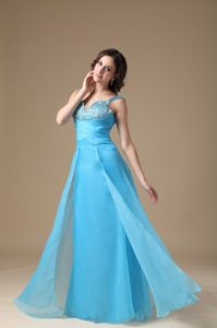 Beautiful Aqua Blue Long Dress for Middle School with Beading and Straps
