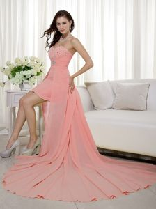 Pretty Peach Beaded Sweetheart High-low Middle School Graduation Dress