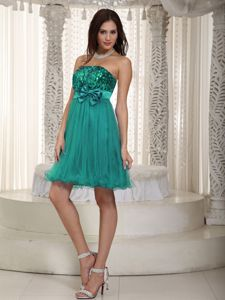 Turquoise Sequined Strapless Short High School Grad Dresses with Bowknot